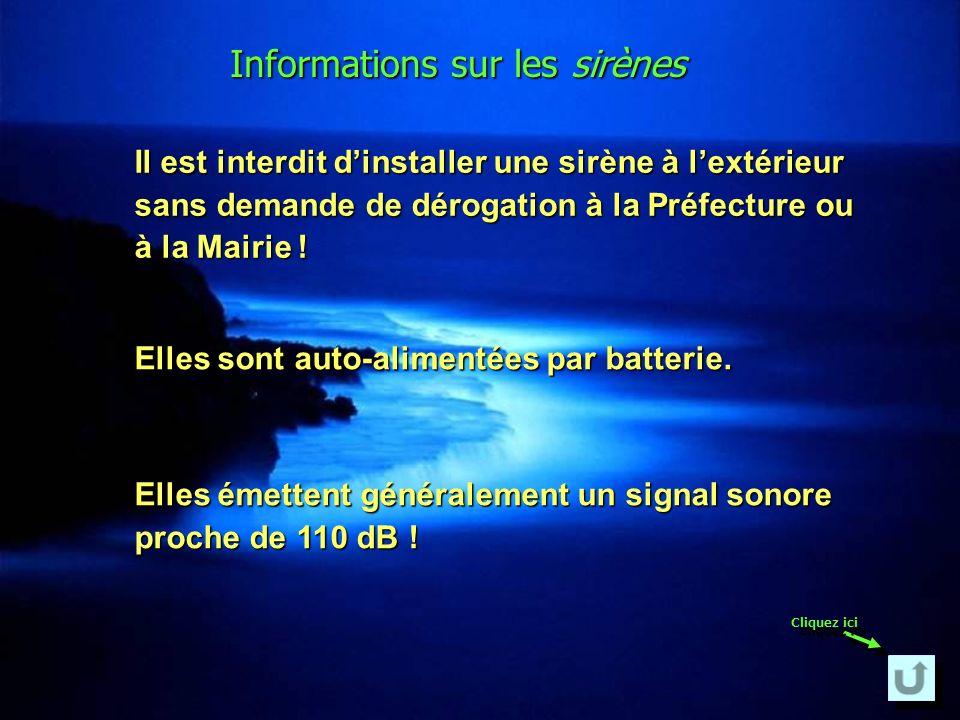 Informations sur les sirènes