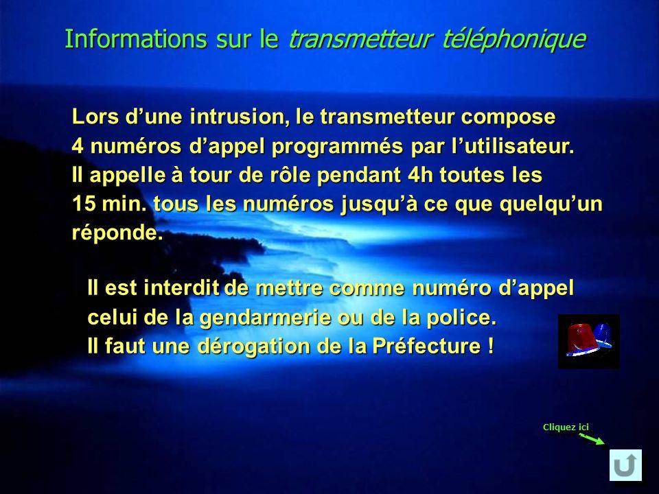 Informations sur le transmetteur téléphonique