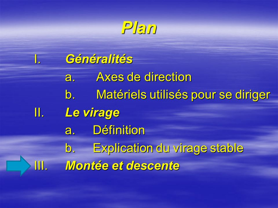 Plan I. Généralités a. Axes de direction