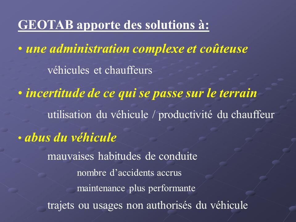GEOTAB apporte des solutions à: