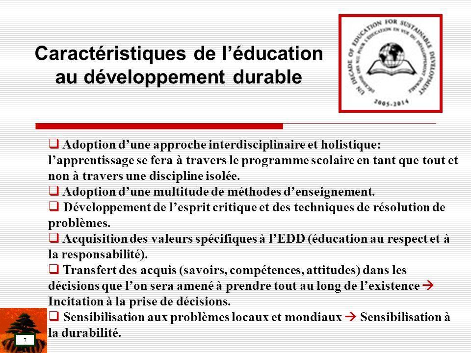 Caractéristiques de l'éducation au développement durable
