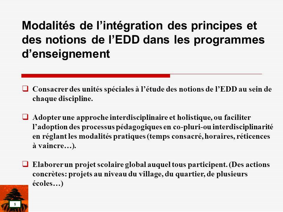Modalités de l'intégration des principes et des notions de l'EDD dans les programmes d'enseignement
