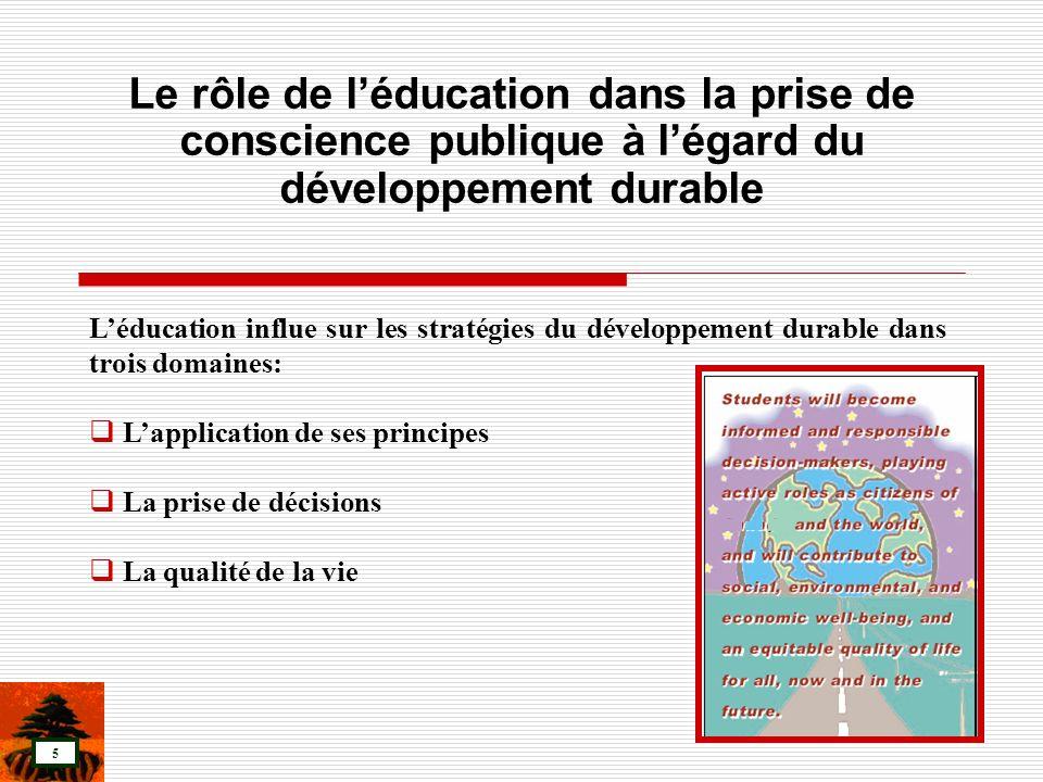 Le rôle de l'éducation dans la prise de conscience publique à l'égard du développement durable
