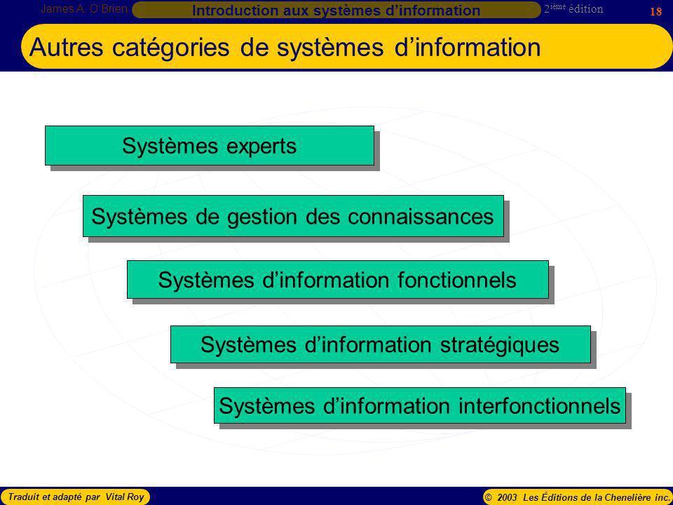 Autres catégories de systèmes d'information