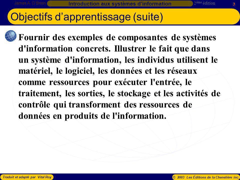 Objectifs d'apprentissage (suite)