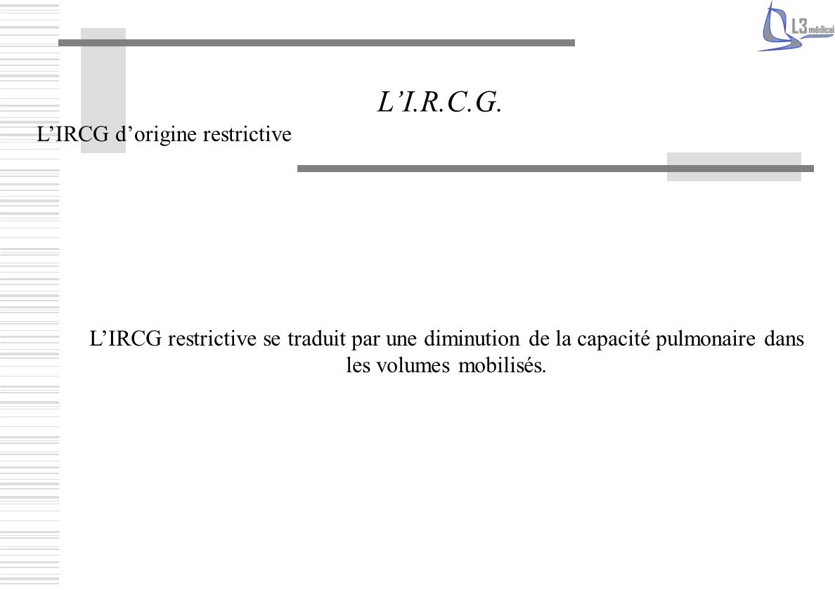 L'I.R.C.G. L'IRCG d'origine restrictive
