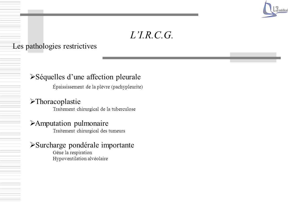 L'I.R.C.G. Les pathologies restrictives