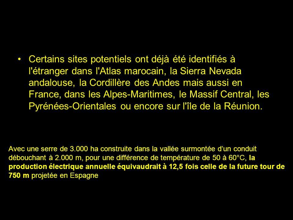 Certains sites potentiels ont déjà été identifiés à l étranger dans l Atlas marocain, la Sierra Nevada andalouse, la Cordillère des Andes mais aussi en France, dans les Alpes-Maritimes, le Massif Central, les Pyrénées-Orientales ou encore sur l île de la Réunion.