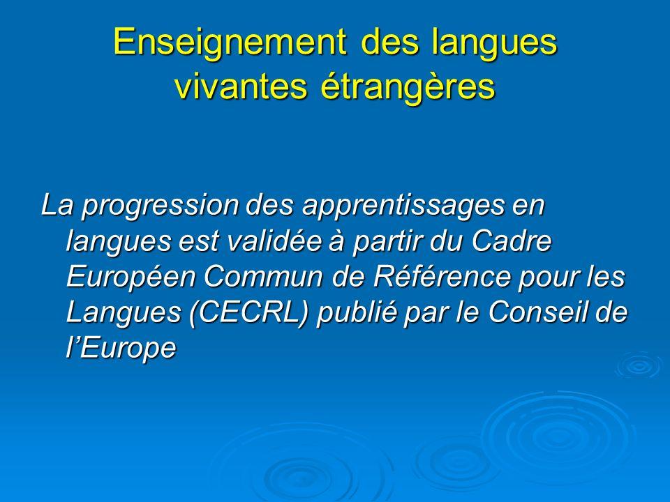 Enseignement des langues vivantes étrangères