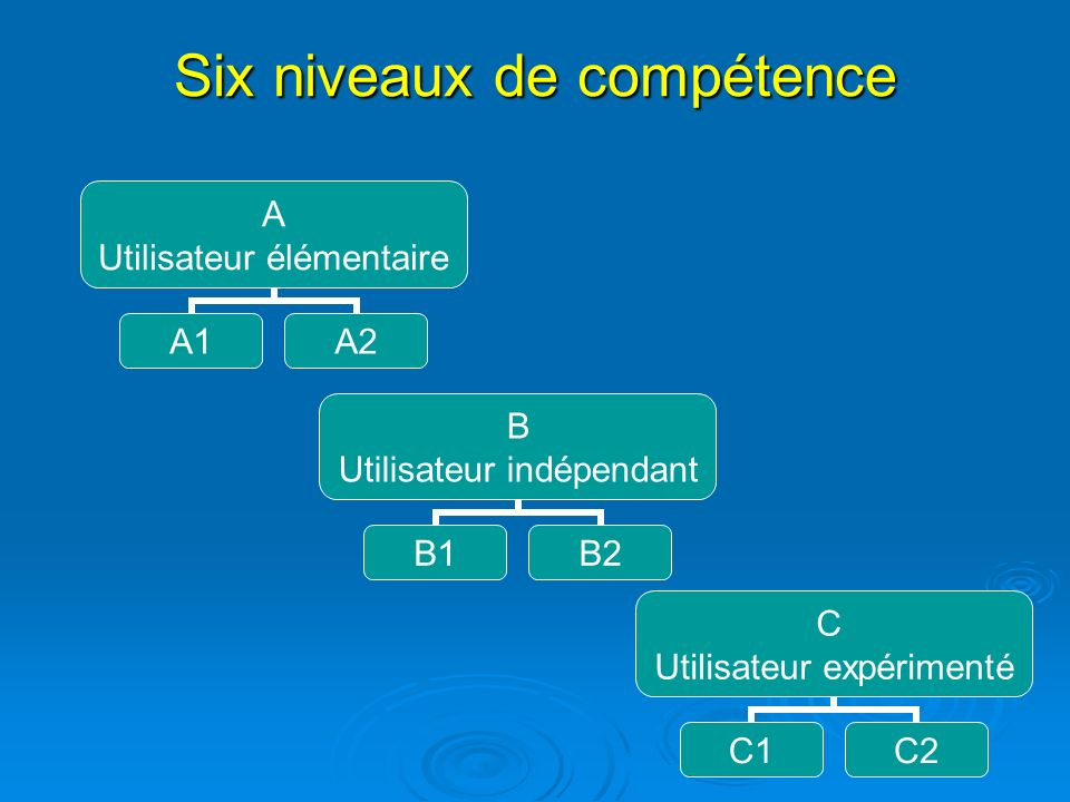 Six niveaux de compétence