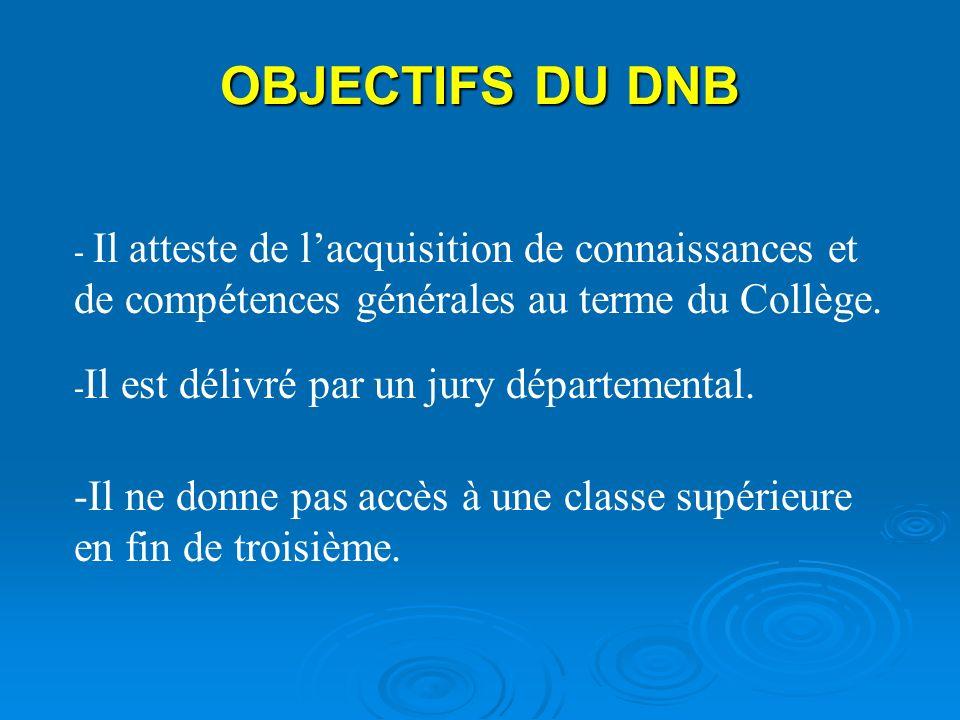 OBJECTIFS DU DNB - Il atteste de l'acquisition de connaissances et de compétences générales au terme du Collège.