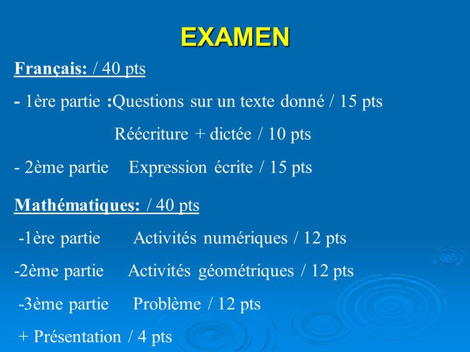 EXAMEN Français: / 40 pts. - 1ère partie :Questions sur un texte donné / 15 pts. Réécriture + dictée / 10 pts.