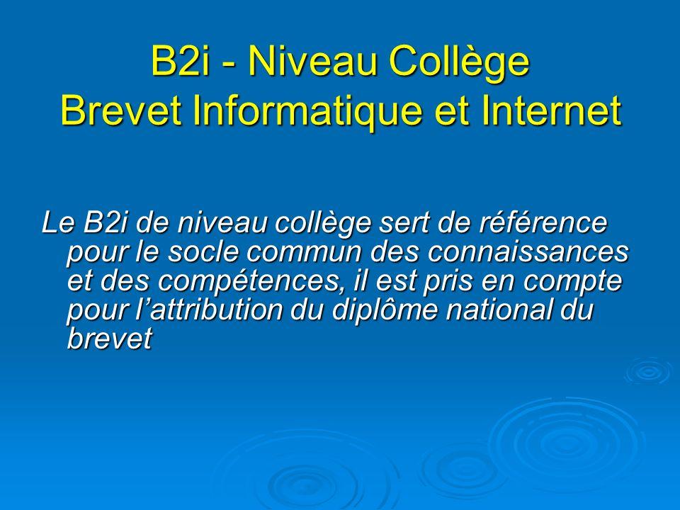 B2i - Niveau Collège Brevet Informatique et Internet