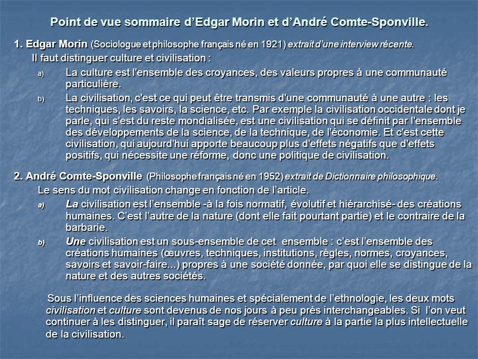 Point de vue sommaire d'Edgar Morin et d'André Comte-Sponville.