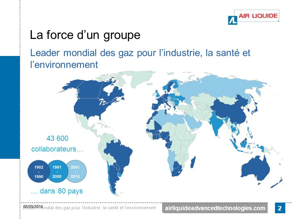 La force d'un groupe Leader mondial des gaz pour l'industrie, la santé et l'environnement. 43 600.