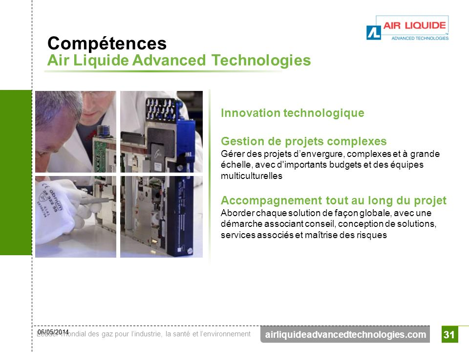 Compétences Air Liquide Advanced Technologies Innovation technologique
