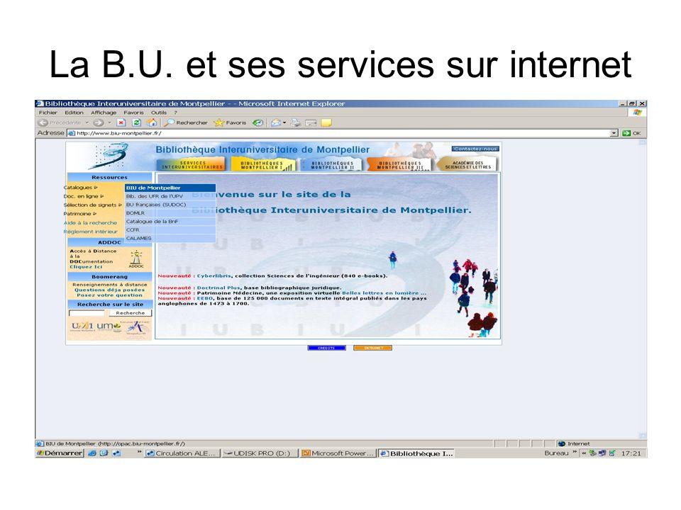 La B.U. et ses services sur internet