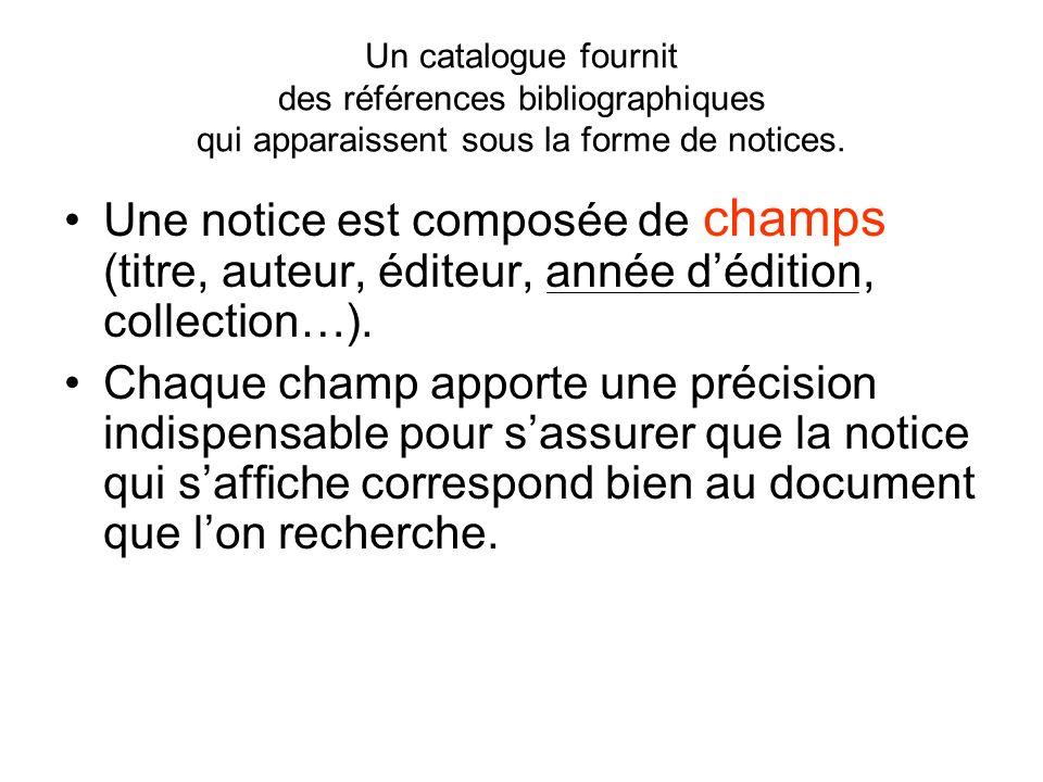 Un catalogue fournit des références bibliographiques qui apparaissent sous la forme de notices.