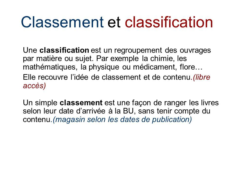 Classement et classification