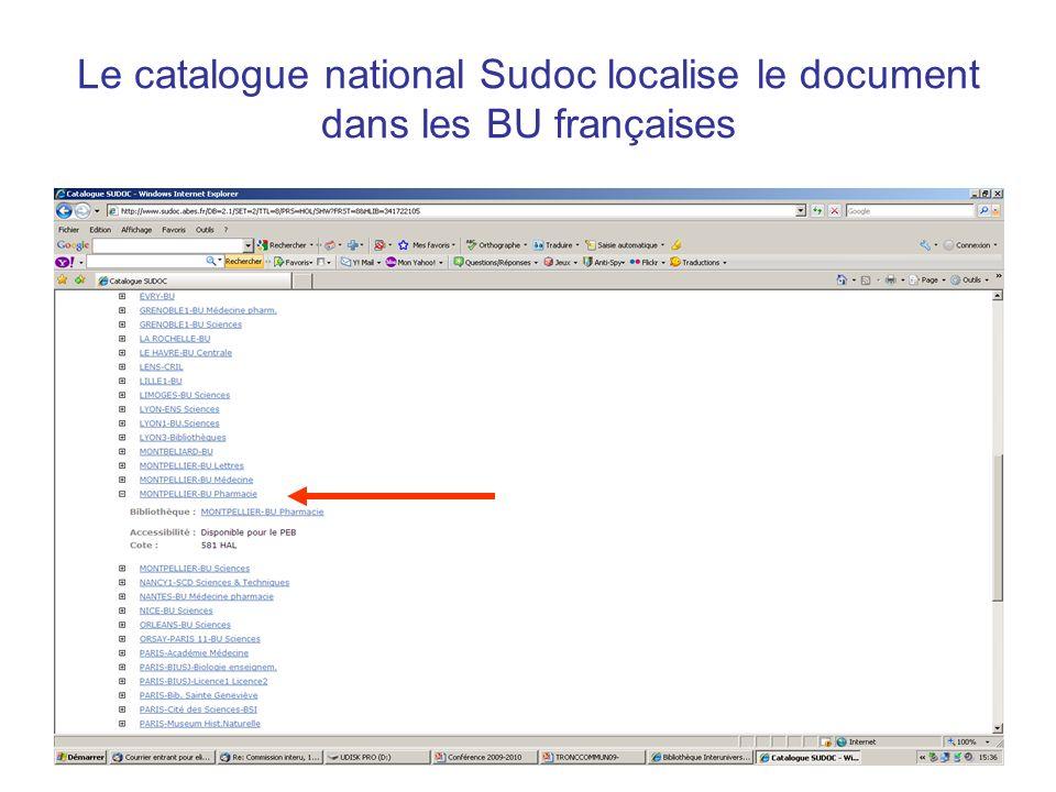 Le catalogue national Sudoc localise le document dans les BU françaises