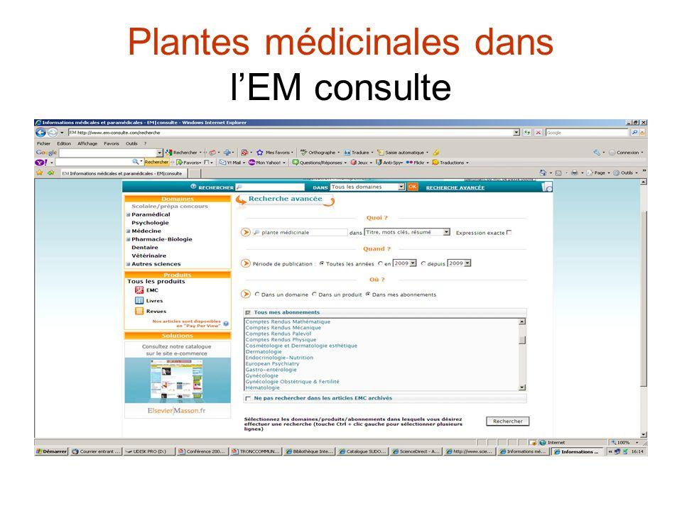 Plantes médicinales dans l'EM consulte
