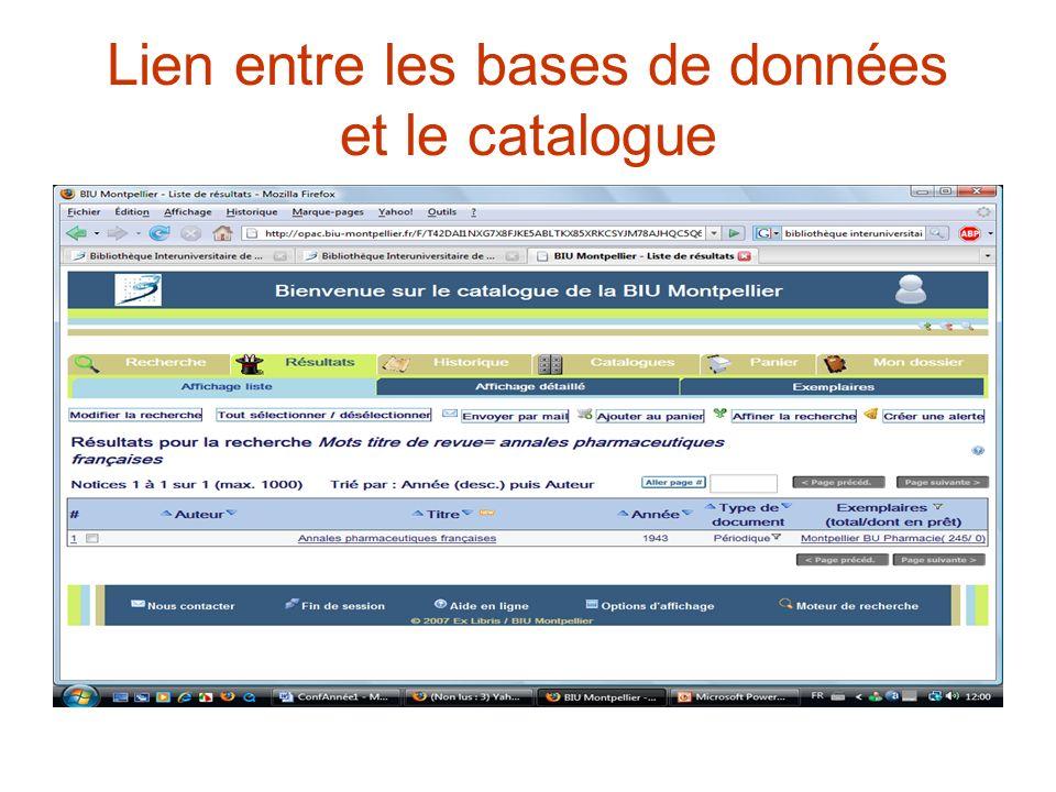 Lien entre les bases de données et le catalogue