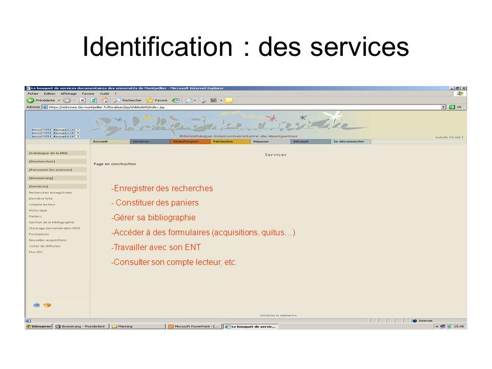 Identification : des services