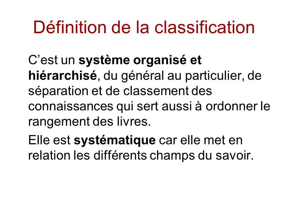 Définition de la classification