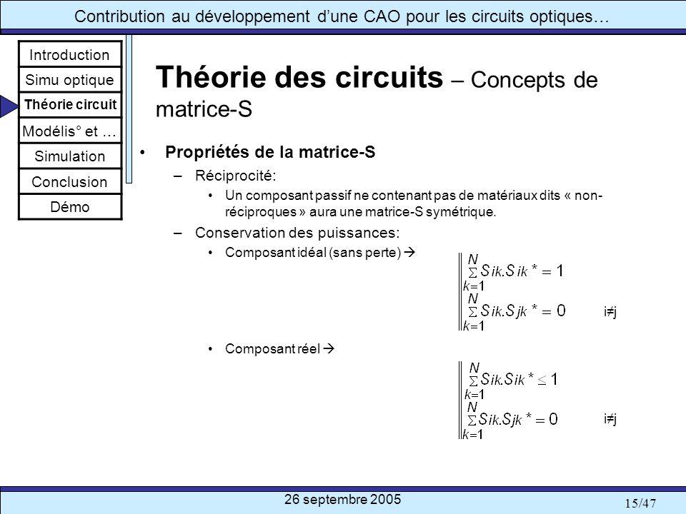 Théorie des circuits – Concepts de matrice-S
