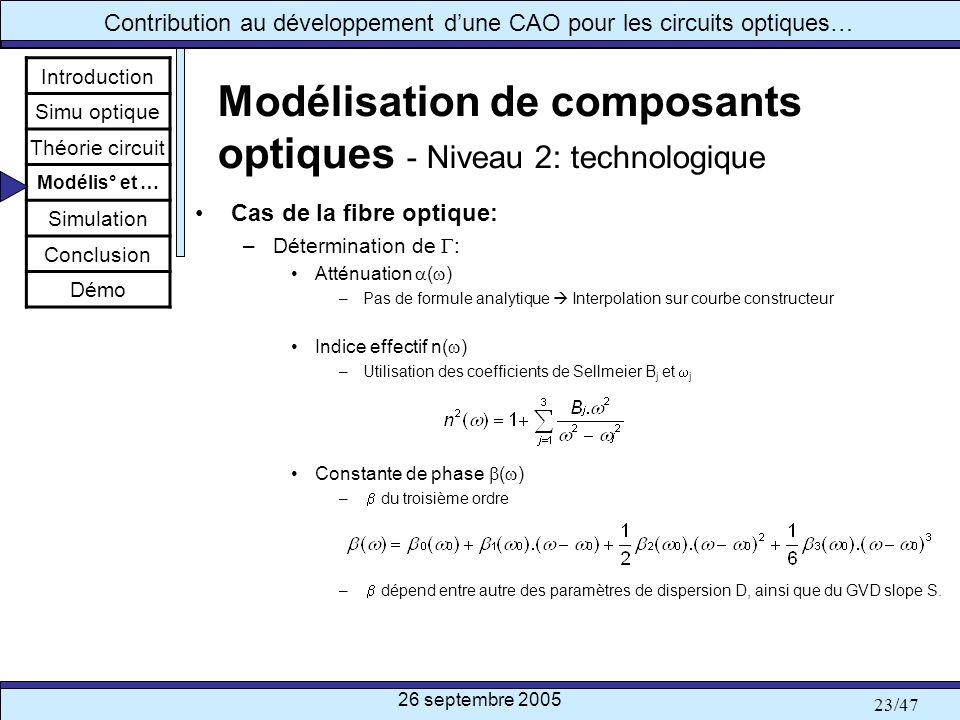 Modélisation de composants optiques - Niveau 2: technologique