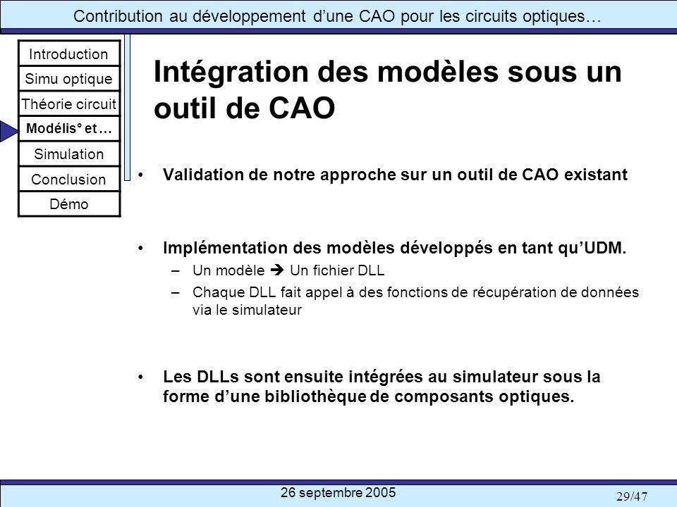 Intégration des modèles sous un outil de CAO
