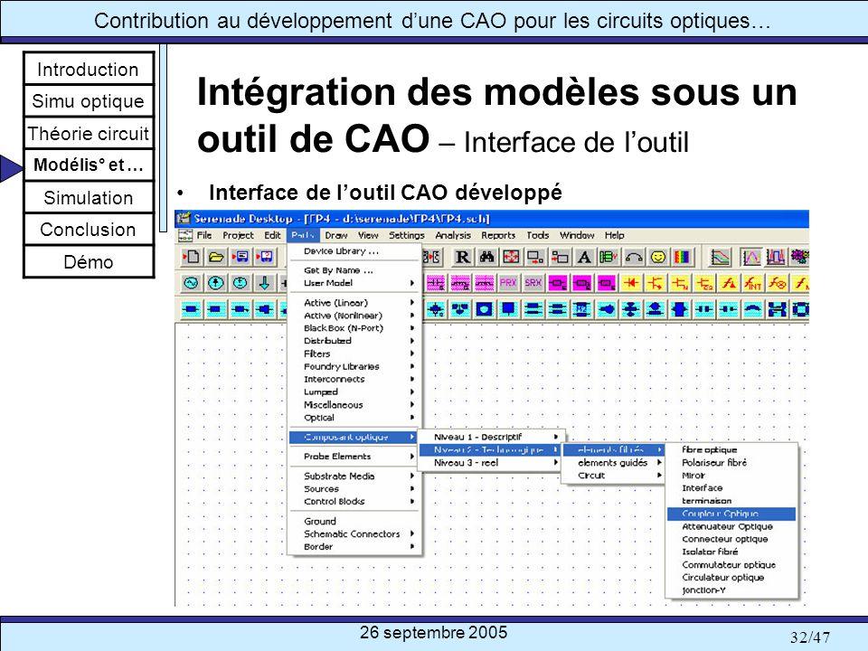 Intégration des modèles sous un outil de CAO – Interface de l'outil