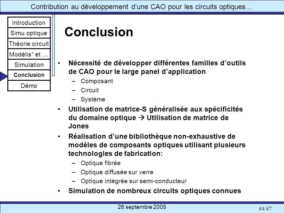 Introduction Simu optique. Théorie circuit. Modélis° et … Simulation. Conclusion. Démo. Conclusion.