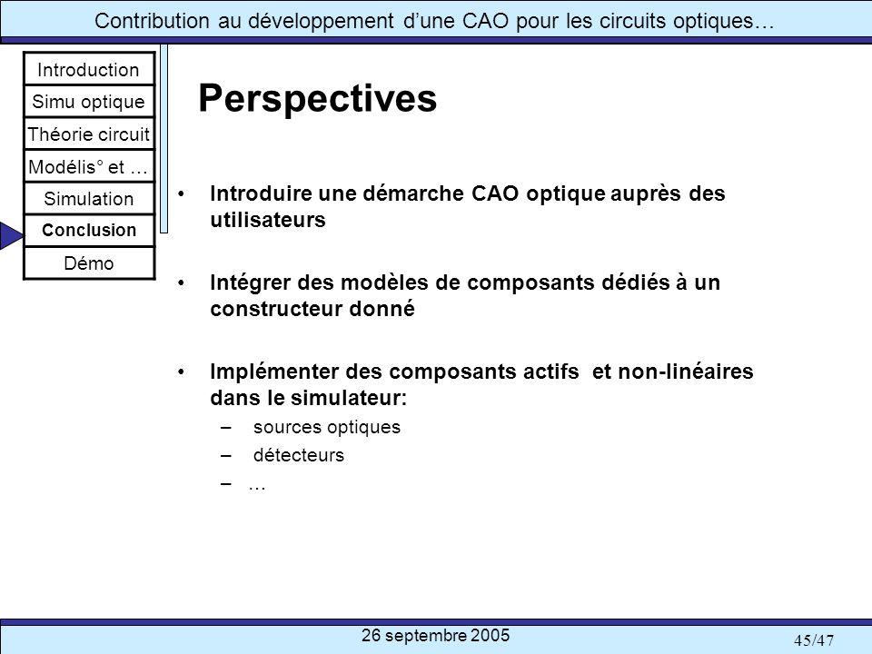 Introduction Simu optique. Théorie circuit. Modélis° et … Simulation. Conclusion. Démo. Perspectives.