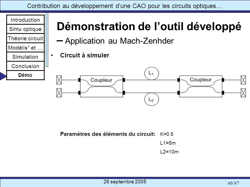Démonstration de l'outil développé – Application au Mach-Zenhder