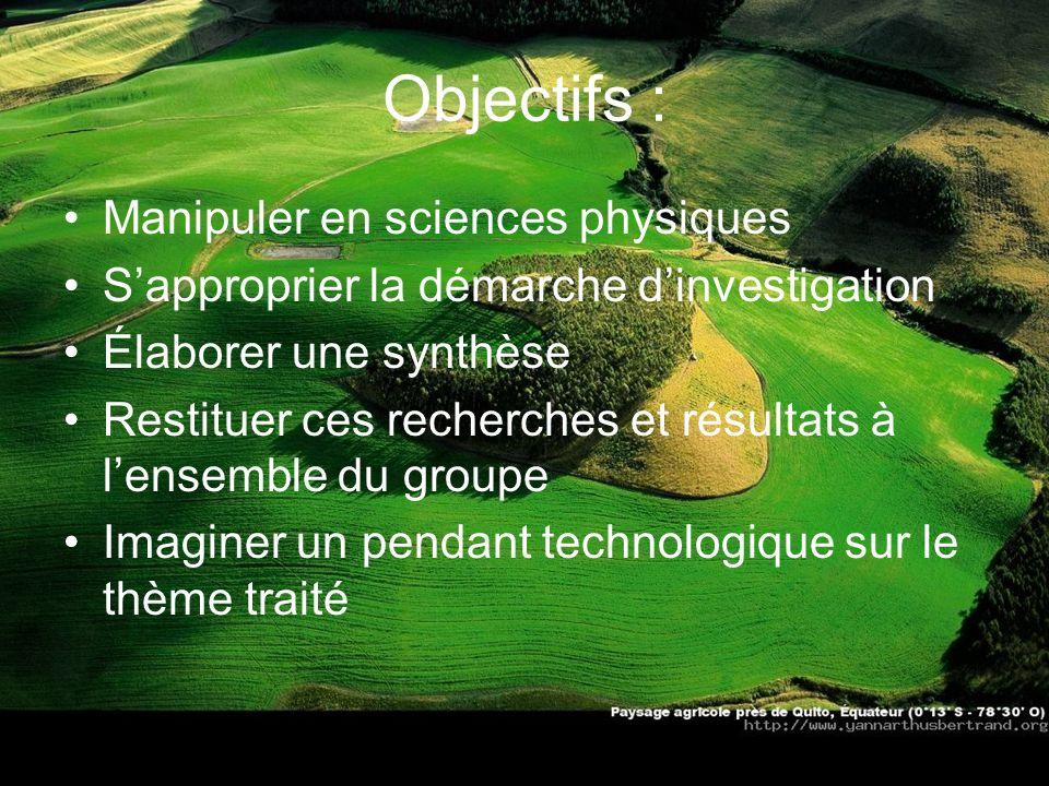 Objectifs : Manipuler en sciences physiques