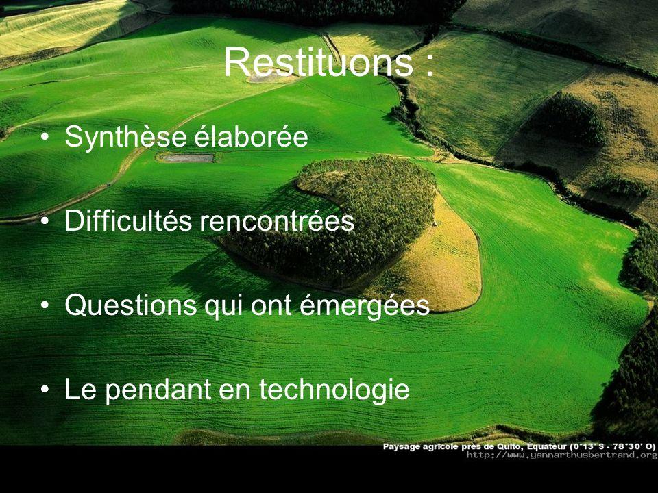 Restituons : Synthèse élaborée Difficultés rencontrées
