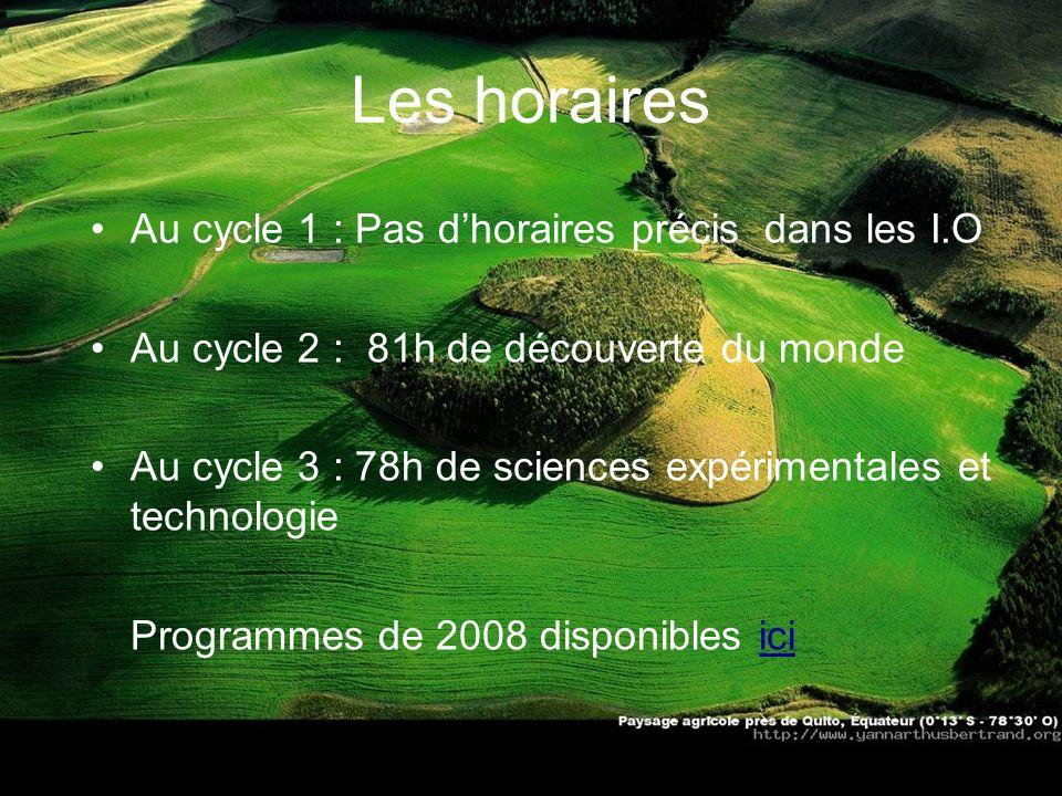 Les horaires Au cycle 1 : Pas d'horaires précis dans les I.O