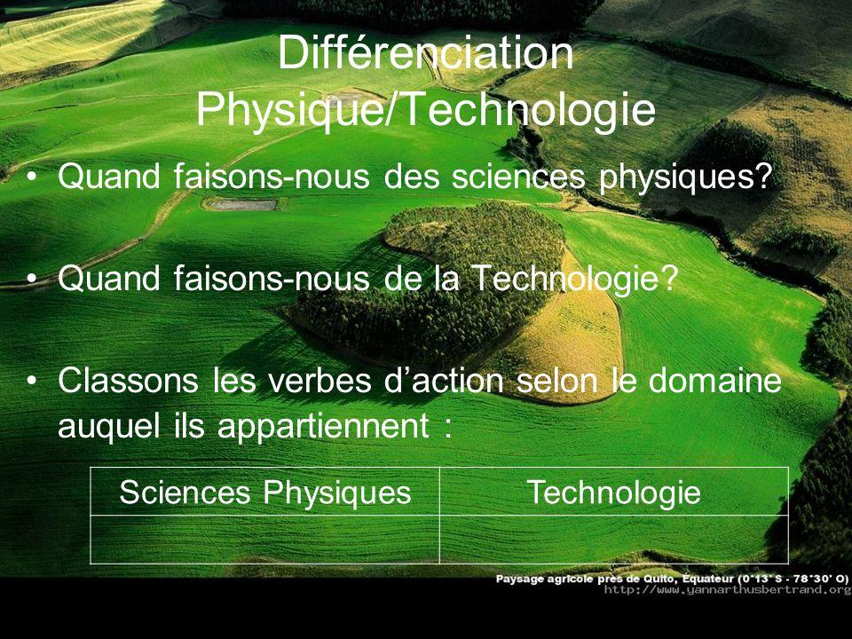 Différenciation Physique/Technologie