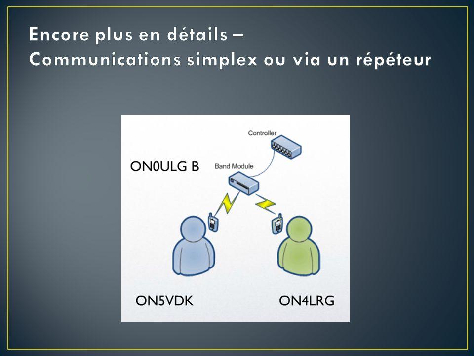 Encore plus en détails – Communications simplex ou via un répéteur