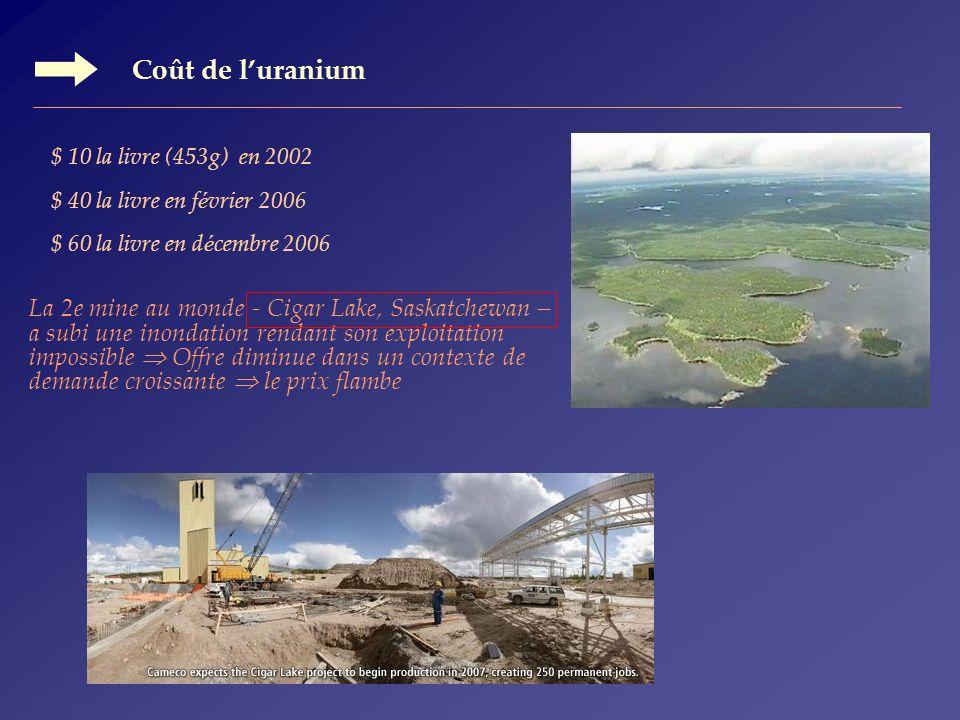 Coût de l'uranium La 2e mine au monde - Cigar Lake, Saskatchewan –