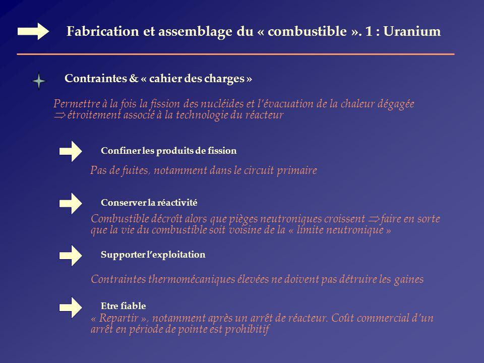 Fabrication et assemblage du « combustible ». 1 : Uranium