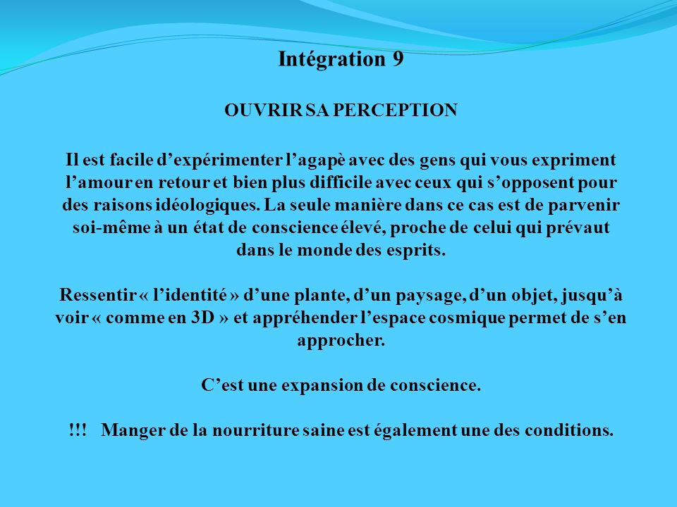 Intégration 9 OUVRIR SA PERCEPTION