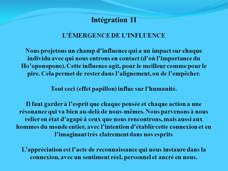 Intégration 11 L'ÉMERGENCE DE L'INFLUENCE