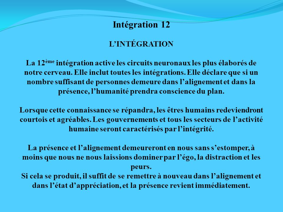 Intégration 12 L'INTÉGRATION