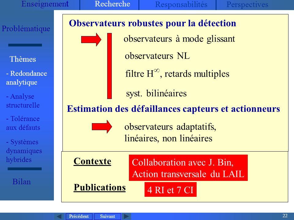 observateurs adaptatifs, linéaires, non linéaires