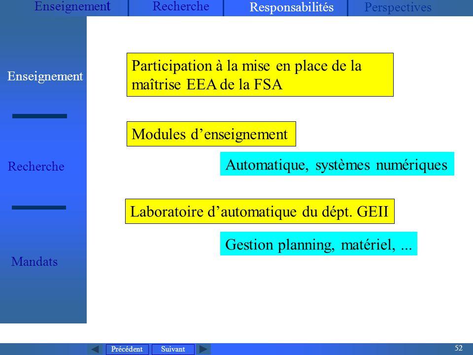 Participation à la mise en place de la maîtrise EEA de la FSA