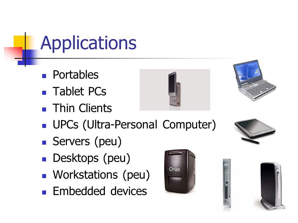 Applications Portables Tablet PCs Thin Clients