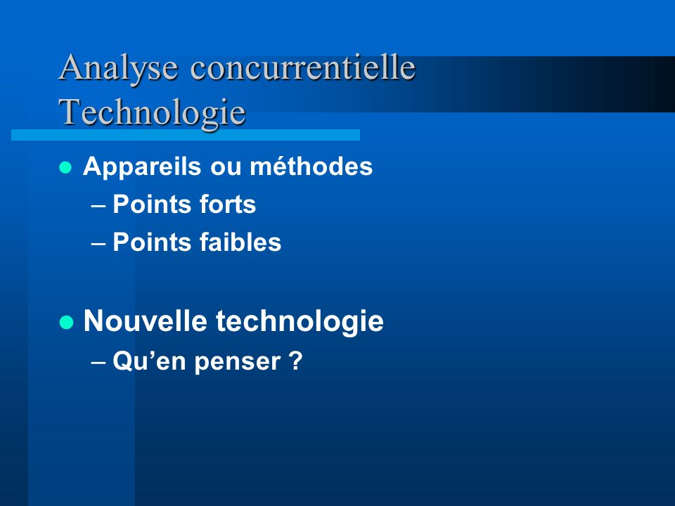 Analyse concurrentielle Technologie