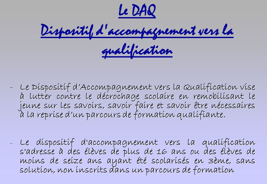 Le DAQ Dispositif d accompagnement vers la qualification